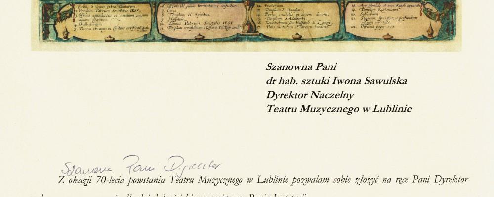 Życzenia z okazji 70-lecia Teatru Muzycznego w Lublinie