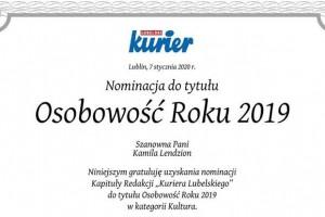 Dyrektor Kamila Lendzion otrzymała Nominację do tytułu Osobowość roku 2019 w kategorii Kultura